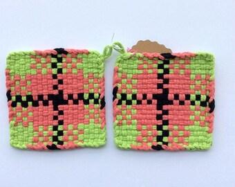 Cotton Potholders 100% Cotton Handmade (Set of 2)  Potholders/Hot Pad/Coaster/Trivet--Salmon, Lime green, Black
