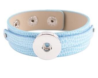 "KC0219  Faux Leather Slide Bracelet - Light Blue -Fits 6.25""- 7.25"""