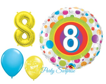 8th Birthday Balloon Package 8 years old Birthday Party Baloons Boy Girl 8th Birthday Gold Number 8 balloon Kids Birthday Party Balloons
