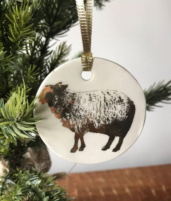 Sheep porcelain ornament
