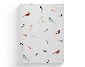 """Notebook with Birds design – Lay-Flat binding – 5,75"""" x 8"""" – Ruled Pages"""