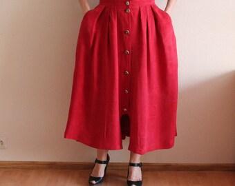 Red Skirt Dirndl Skirt Hot Red Dirndl Skirt Original Alpen Trachten Loden  Dirndl  Full Skirt German Austrian Tyrolean  Bavarian  Large Size