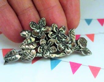 Vintage silver flower brooch pin, Welsh flower brooch,  signed Vintage brooch pin,  leaf pearl brooch pin