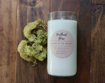 Hiking in the Woods, Wine bottle candle, 14oz soy candle