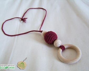 Bordeaux and Wood recycled cotton mini-feeding necklace