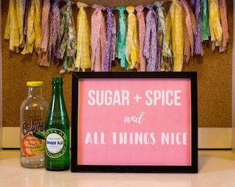 Girl's Nursery Printable Wall Art, Sugar and Spice, Printable Decor, Wall Decor