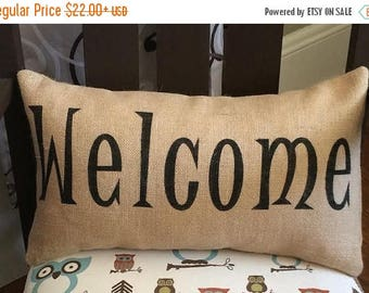 """SALE Welcome Burlap Pillow Cover - Fits a 12"""" x 22"""" pillow insert"""
