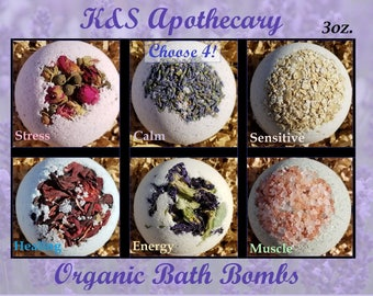 Organic Bath Bombs Gift Set! (Four) 3oz. All Natural Bath Bomb Set, Organic Gift for her, Natural Dye, Choose your four!