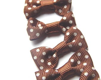 x 5 white 30 * 15 mm dot Brown fabric bow