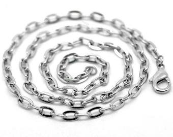 10 necklaces chains silver 41 cm to mesh oval 4x3mm with lobster clasp