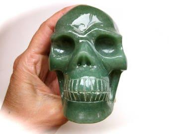 Green Aventurine Mica Quartz Crystal Skull Carving 87mm 541g