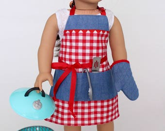 18 inch girl doll clothes - Summer BBQ Chef Apron with oven mitt