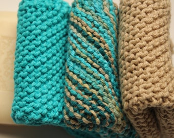 Kitchen Dishcloths, Hand Knit Washcloths, Facial Cloths, Bathroom Washcloths, Knit Dishcloths, Set of 3, Color Coordinating Dishcloths