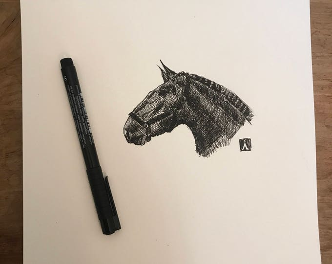 Original Pen Sketch of Draft Horse
