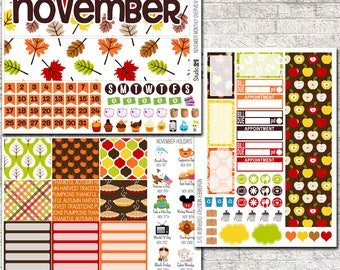 November MONTHLY OVERVIEW Planner Stickers ~ Sticker Kit Compatible with Erin Condren Life Planners ~ Thanksgiving