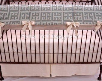 Blue & Cream Greek Key Bumperless Baby Bedding- Zeus Rail Guard Cover w/long ties and Contrast piping w/flange