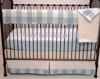 Blue & Ivory Buffalo Check Bumperless Baby Bedding : SCOUT
