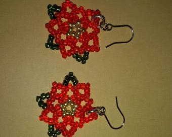 Poinsettia earrings. Christmas Red and Green earrings