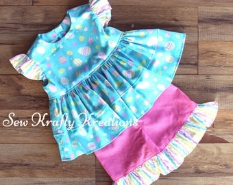 Girl's 2 piece Set - Easter Inspired - Light Blue with Eggs Top and Pink Bermuda Style Ruffle Shorts