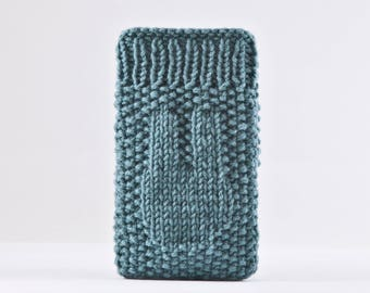 Turquoise iPhone X Case, Knitted iPhone 8 Plus Case, Handknit iPhone Case, Girlfriend Gift, iPhone Sleeve, Turquoise iPhone 7 Plus Case