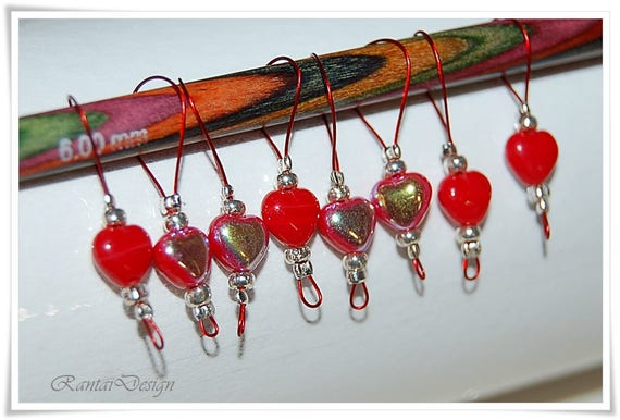 Knitting Supplies Singapore : Stitch markers bohemian crystal glass heart wire marker
