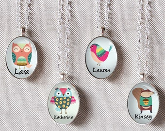 Girls personalized necklace in four designs