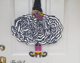 Witch hat Halloween door hanger with legs