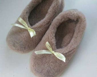 Cute fur slippers Winter slippers   Ballerina fur slippers  Warm slippers with wool lining  Warm home shoes