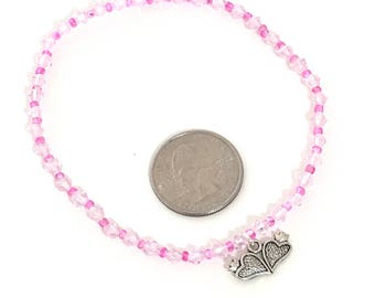 "Valentine CROWN HEART ANKLET 9"" light pink crystal bead anklet silver heart charm tiara charm crown charm Princess Anklet"