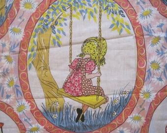 """Sweet Holly Hobbie Fabric, Cotton, 42' x 55"""", Patchwork, Bonnet, Daisies, Girl's Room"""