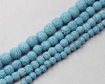 Dyed Natural Lava Beads Full Strand 15.5 inch Round Blue Volcanic Rock Gemstones wholesale mala 4mm 6mm 8mm 10mm 12mm 14mm MHA-169