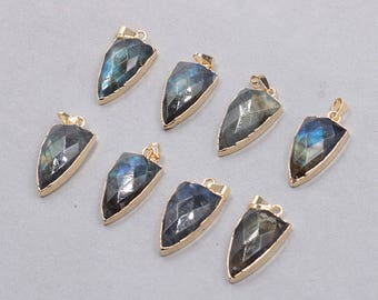 28mm Faceted Labradorite Pendants -- With Electroplated Gold Edge Gemstone Charms Wholesale Supplies YHA-330