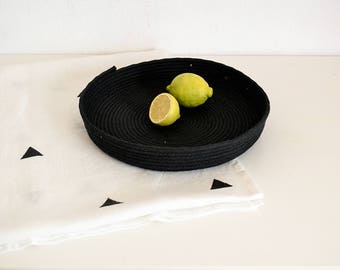 Short cotton  rope basket, Storage basket, Black basket, Fruit bowl, Storage bowl, pannier, Scandinavian style basket