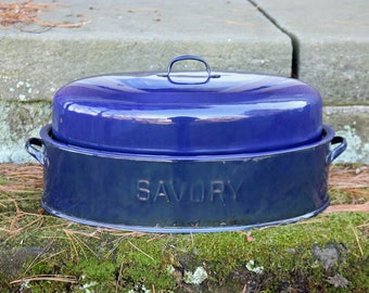 "Savory Large Blue (17-3/4"" x 11-5/8"") Oval Double-Walled Graniteware/Enamelware Roaster & Lid ~ 1930s ~ Dutch Oven ~ Turkey Roaster"