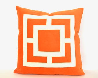 Orange Pillow Cover -Orange Velvet Pillow Cover with Off-White Velvet Applique