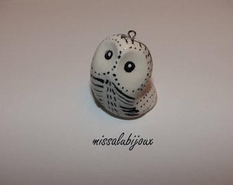 little white polar OWL white Fimo totem