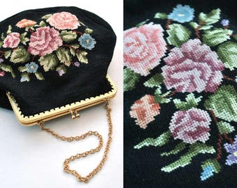 Vintage 30s Petit Point Evening Purse • Tapestry Bag • Floral Decoration • Roses • Bridal Purse