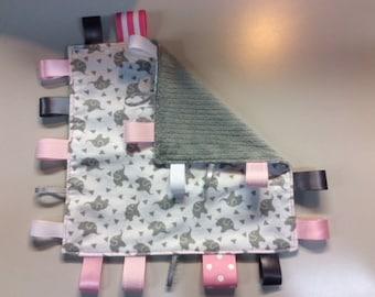 Pink & Grey Elephant Baby Tag Blankie
