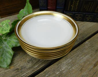 Set of 6 Vintage Pickard Etched China Encrusted Gold Berry Bowls