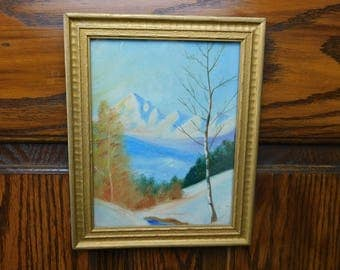 Vintage Hand Painted 1933 Oil Painting - Winter Scene in the Mountains