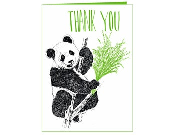 Thank you! - Panda holding flowers - thank you card -  eco friendly