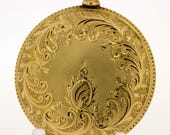 14K 1890s Elgin Ladies Pocket Watch with Floral Vines, Shell, and Milgrain detail