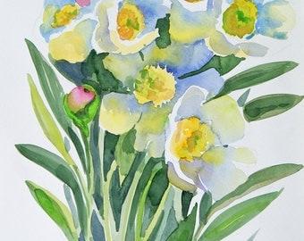 White peonies Original watercolour painting art nursery art classical painting 9 x 12 in Botanical illustration Italian Garden