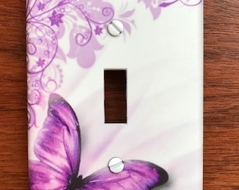 Personalized Purple Butterfly light switch plate home decor // SAME DAY SHIPPING**