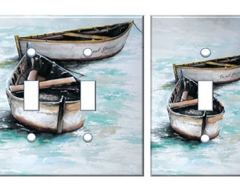 Nautical boat light switch plate cover // rustic boat distressed // SAME DAY SHIPPING !!  **