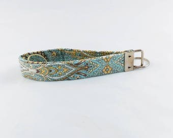 Key Fob Wristlet, Teal Green,Yellow, Brown, Floral Key Chain