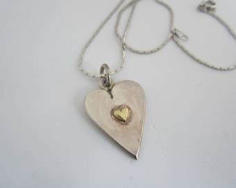 Vintage English Sterling Silver and Brass Heart Pendant-Hallmarked FREE SHIPPING (US)