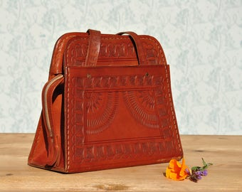 Tooled leather purse, tooled leather bag, tooled leather handbag, vintage leather bag, leather bag womens,leather top handle bag, ethnic bag