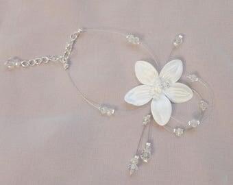 Bridal satin flower Crystal bracelet crystal wedding party