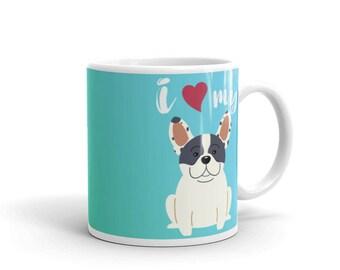 Love My French Bulldog Mug - Blue/Green